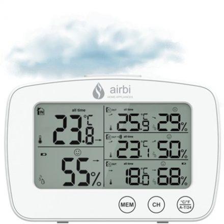 Airbi TRIO vezeték nélküli páratartalom- és hőmérséklet mérő központ